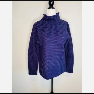 Eileen Fisher Purple Merino Wool Mock Neck Sweater